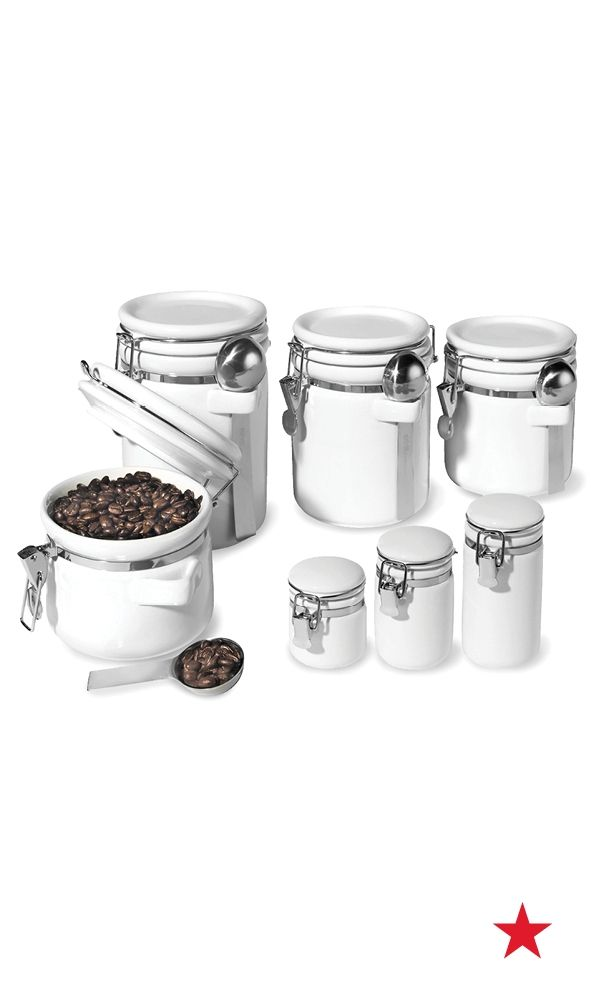 awesome Oggi White Canister Set Part - 2: Food may come and go, but style is forever. Bring a little order to your  pantry or counter top with tasteful contemporary ceramic canisters from Oggi .