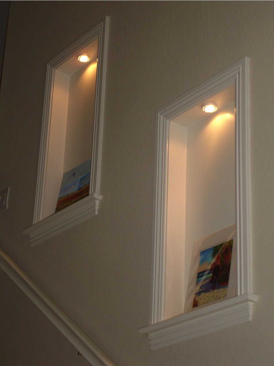 Wall niche would look nice to display art in stairwell for Dining room niche ideas