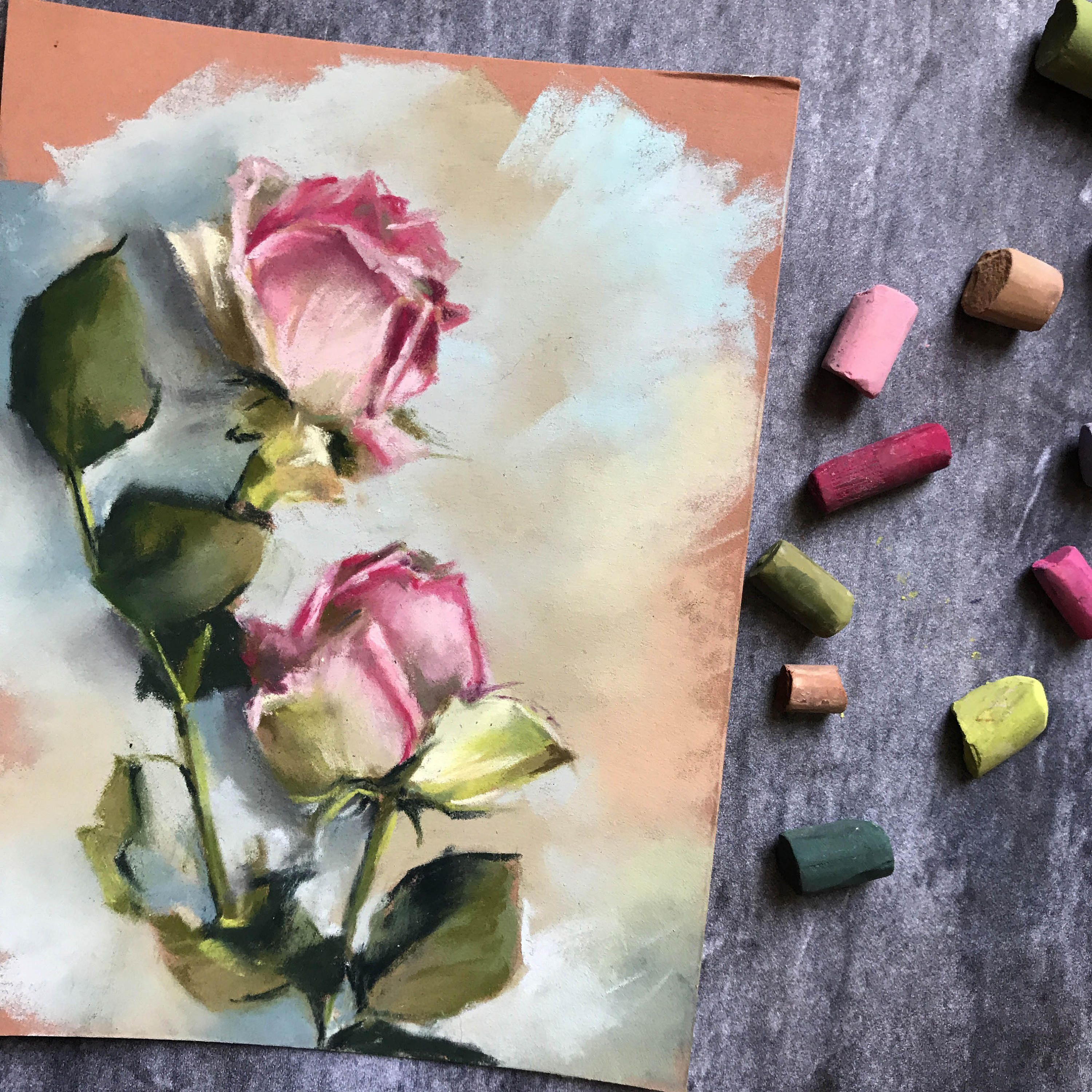 Roses Soft Pastels Painting Original Flowers Painting