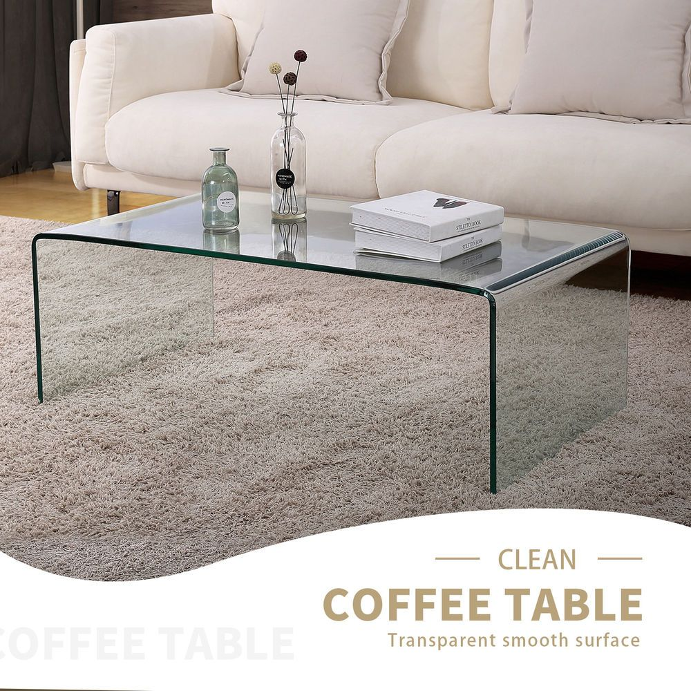 Details About Modern Design Rectanglar Glass Coffee Table Transparent Living Room Furniture Coffee Table Living Room Furniture Rectangle Glass Coffee Table