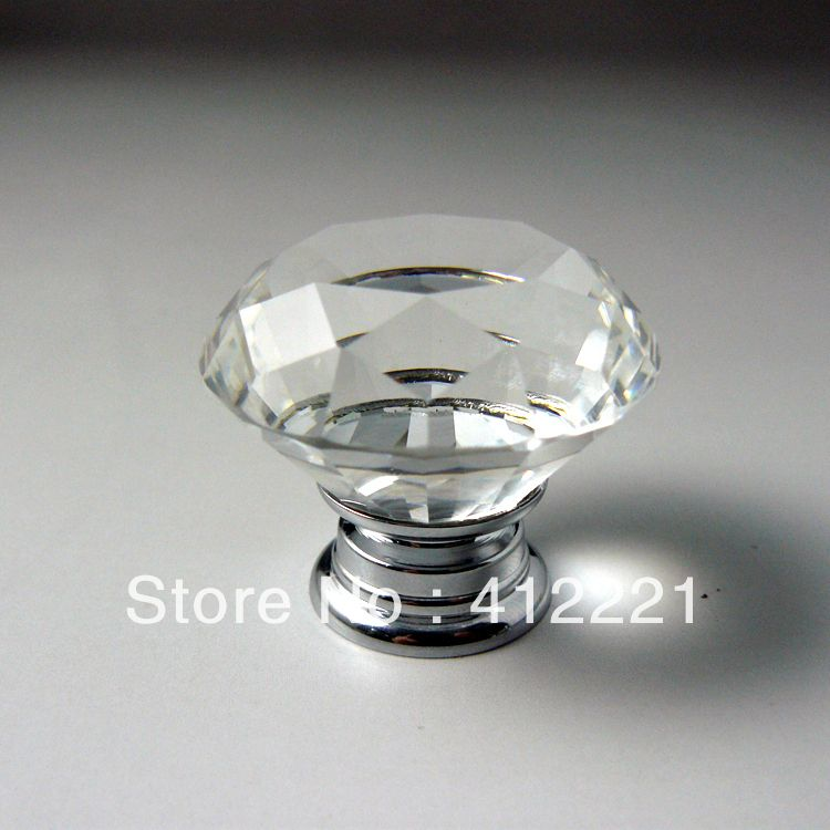 NEW Free shipping 10X30mm Clear Crystal diamond Cabinet Knob ...