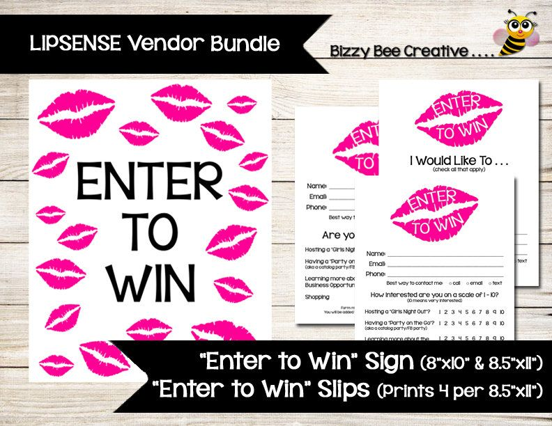 Lipsense | Enter To Win | Raffle Ticket | Drawing Slip | Door