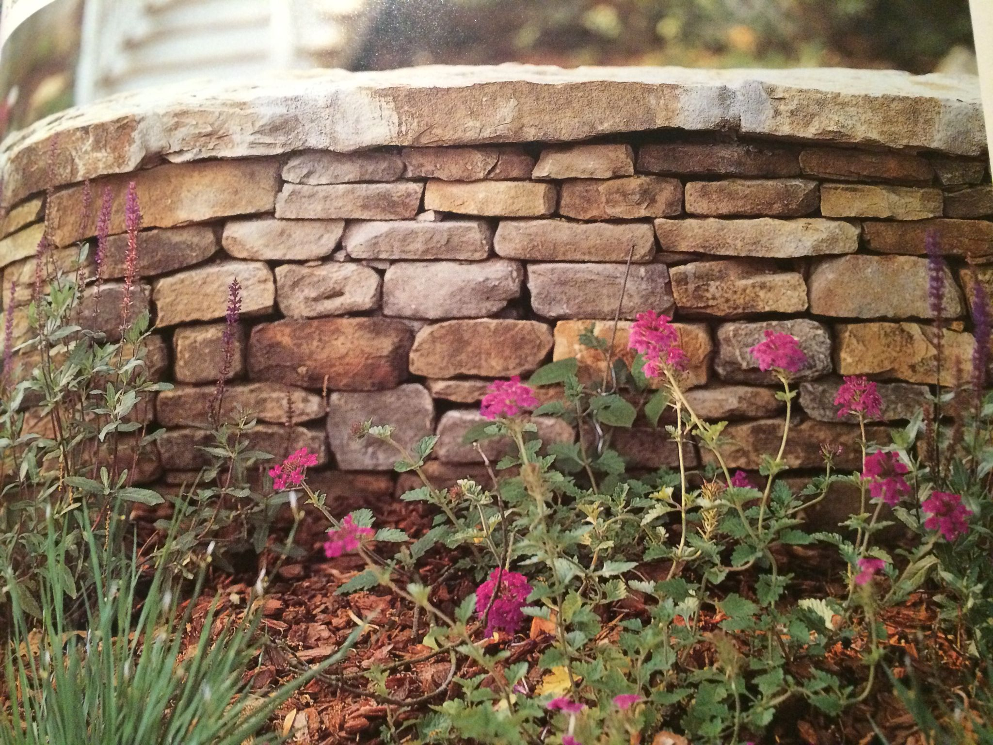 Stone wall with capstone | Garden patios and Decks | Pinterest ...