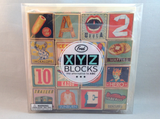 XYZ Alphabet Blocks. XYZ BLOCKS™ the alternative to ABC How about A is for Aro? K is for Kazoo? U is for Uvula? These wooden blocks come packed in their own durable wooden storage tray. Ages 2+