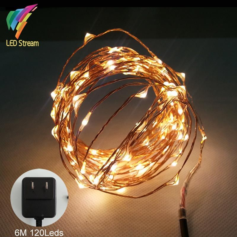 Mini String Lights 6M 120 Led Copper Wire Mini String Fairy Lights Ul Approved Adapter