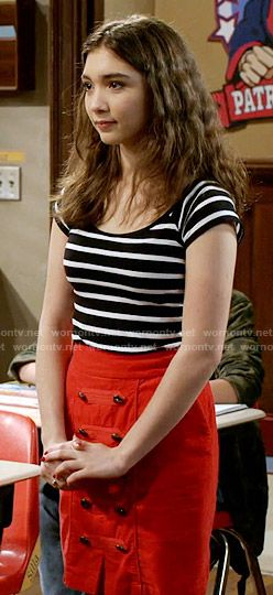 Riley's striped top and red skirt with front buttons on Girl Meets World. Outfit Details: https://wornontv.net/58118/ #GirlMeetsWorld