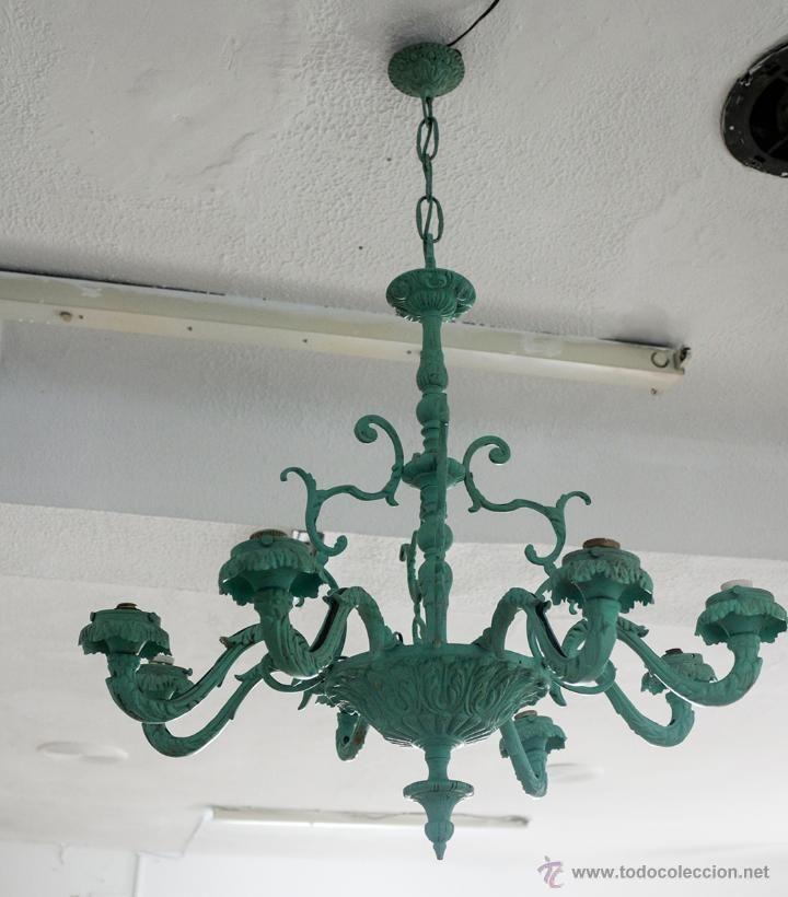 Gran Lampara De Bronce De Ocho Brazos Pintada En Verde Mate Lámparas Pintadas Lámparas Restauradas Lampara Cobre