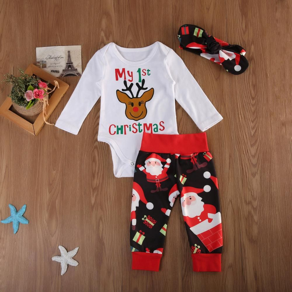 0b1d81874070 My First Christmas Newborn Infant Baby Girls Romper + Pants + Headband Outfits  Set  baby  babyclothes  babychristmas  christmas  kid  babyfashion  romper  ...