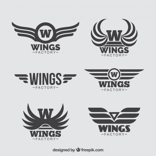 Collection Of Six Wings Logos In Flat Design Wings Logo Wings Logo Set