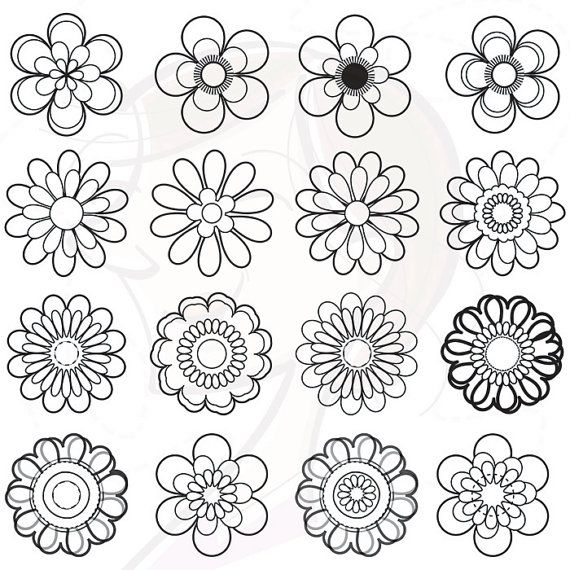 Flower Stamps Png Vector Clipart Digital Stamp To Make A Color