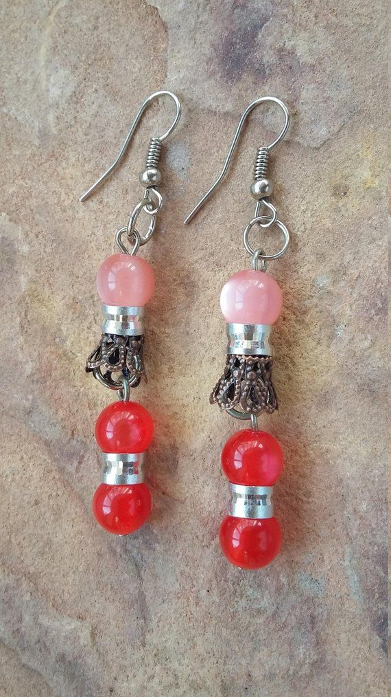 Earrings Pink Dangly Earings Used In Good Condition Modern And Elegant In Fashion Fashion Jewelry