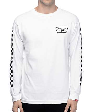 6c4a406545ef8e Vans Full Patch White Long Sleeve T-Shirt