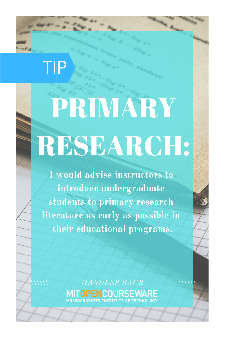 Primary Research Literature As A Teaching Tool Educator Insights From Mit Teacher Resources Course De Student Information Education Computer Science Major
