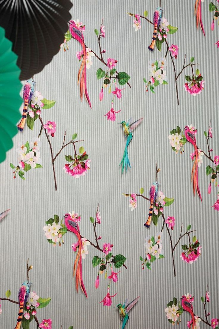 Kotori By Arthouse Silver Wallpaper 293106 Bird Wallpaper Bright Wallpaper Oriental Wallpaper