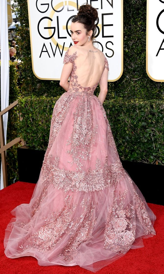 878084021ab6f9 Golden Globes 2017 Best Dresses: Lily Collins in Zuhair Murad Couture