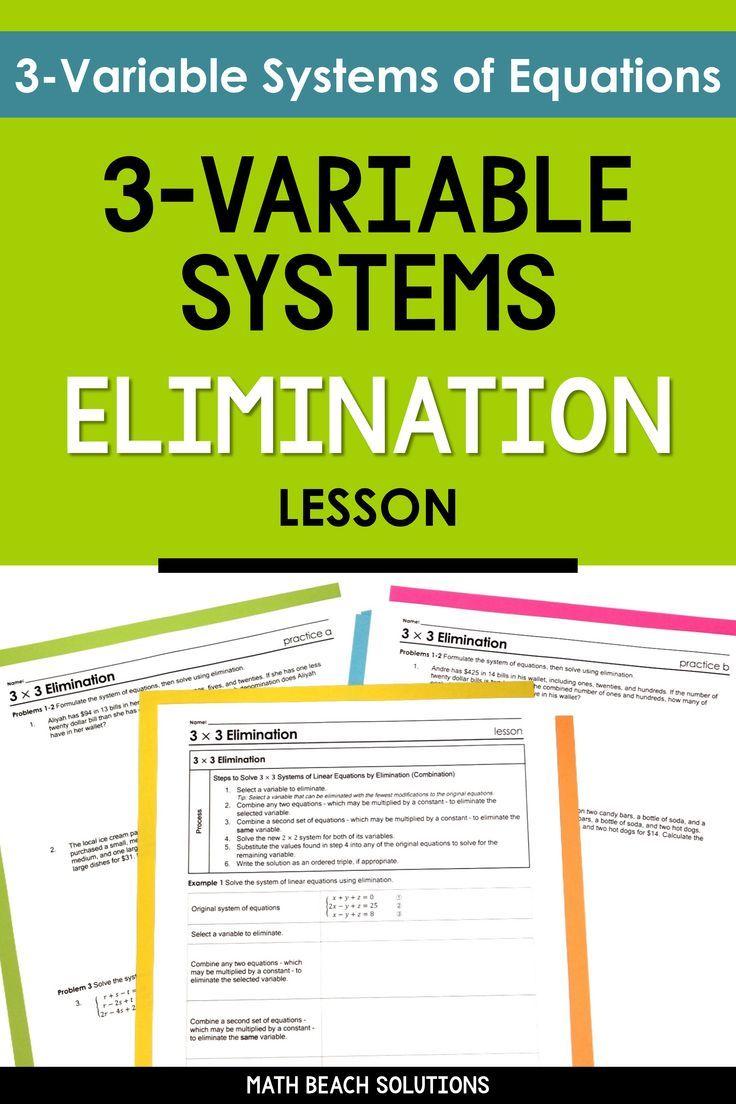 3x3 systems elimination lesson algebra lessons algebra