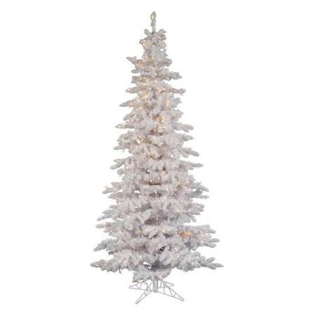 12ft Flocked White Slim Pre Lit Christmas Tree Walmart Com Navidad
