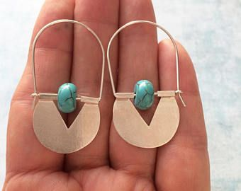 Sterling silver tribal hoop earrings - turquoise earrings - geometric earrings - ethnic earrings