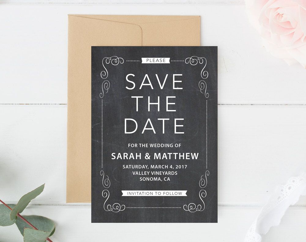 Chalkboard Save The Date Template Rustic Save The Date Save The