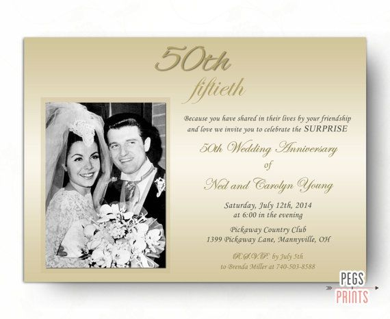 Surprise Wedding Anniversary Invitation 50th