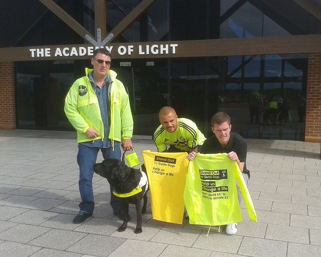 Sunderland Fan Peter Carling And His Guide Dog Willow Meet Players