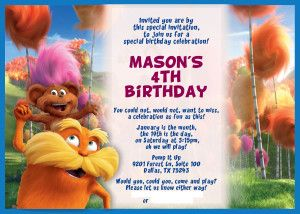 The Lorax Party Invitations And Thank You Cards Free Download - Birthday invitation cards for free download