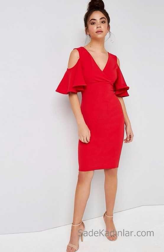2021 Kirmizi Abiye Elbise Modelleri Cekiciligin Adresikirmizi Elbise Omzu Acik V Yaka Diz Ustu Bodycon Elbise The Dress Elbise Modelleri
