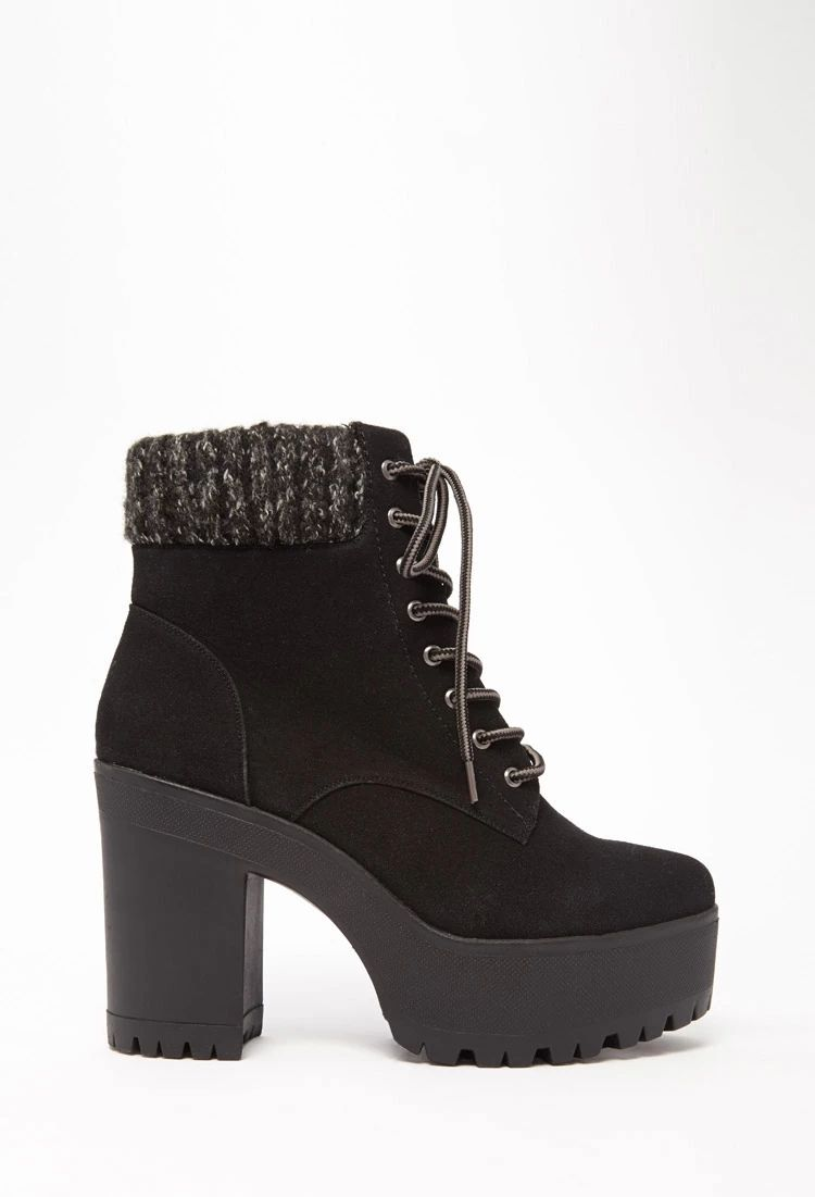 12d70da20a12 Suede Lace-Up Platform Booties