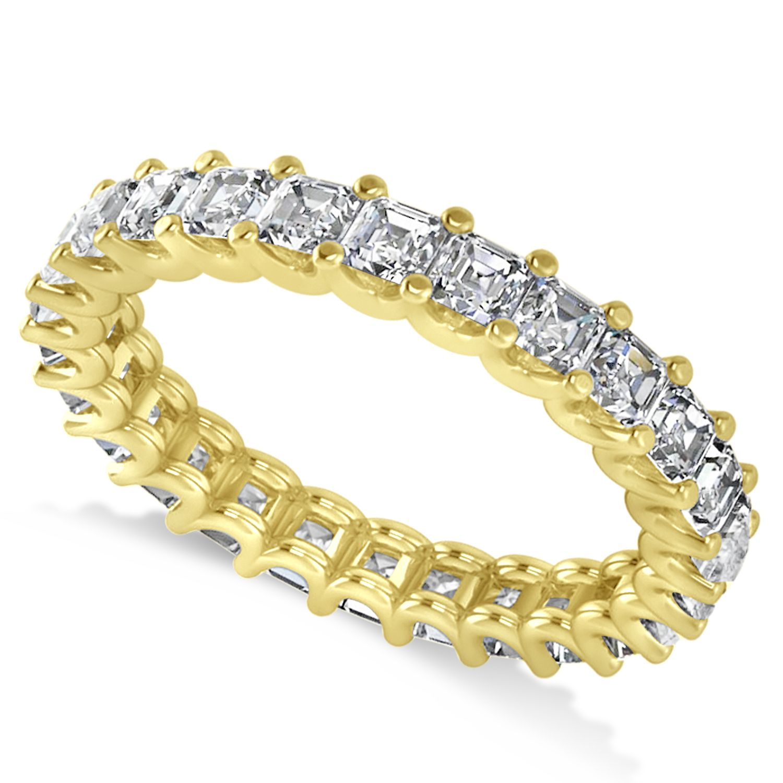 Radiantcut diamond eternity wedding band ring k yellow gold