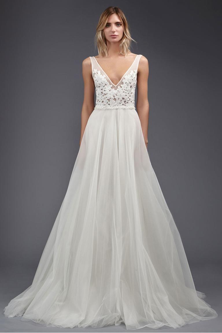 8d209e35e731e Victoria Kyriakides A-line wedding dress with v-neck ivory Kippur lace  detailing top Spring/Summer 2017