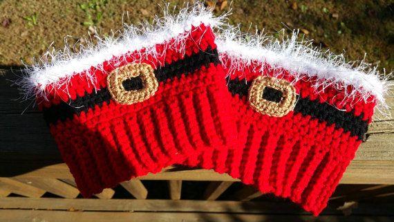 Crochet damas vacaciones so arranque puños, puños de Papá Noel del ...