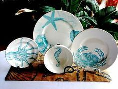 16 Pc ~222 Fifth COASTAL LIFE BLUE Plates Bowls SERV/4 Dinnerware Set NEW & 16 Pc ~222 Fifth COASTAL LIFE BLUE Plates Bowls SERV/4 Dinnerware ...