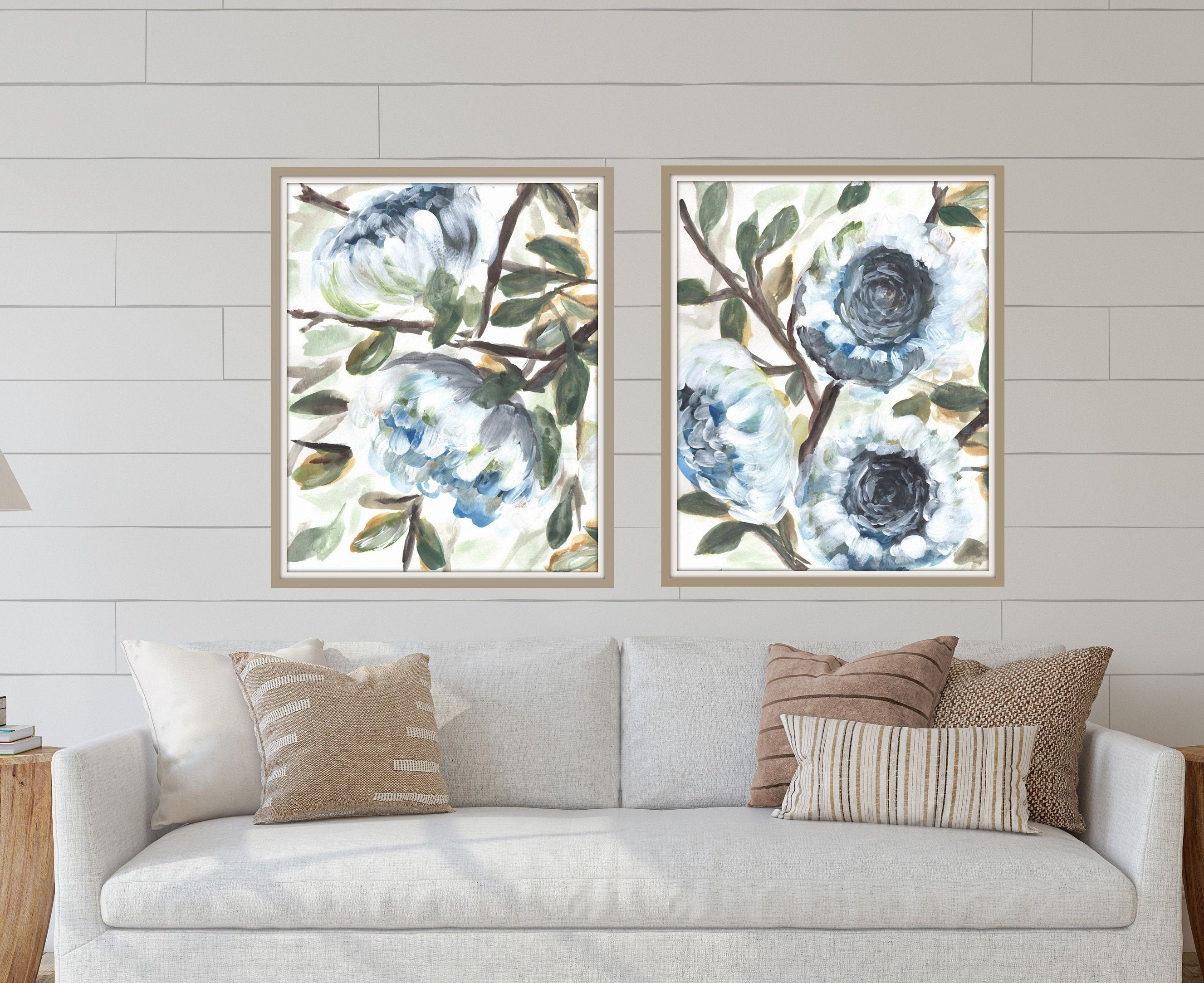 Botanical Floral Farmhouse Prints By Marcy Chapman Original Etsy In 2020 Floral Wall Art Wall Art Prints Blue Abstract Painting