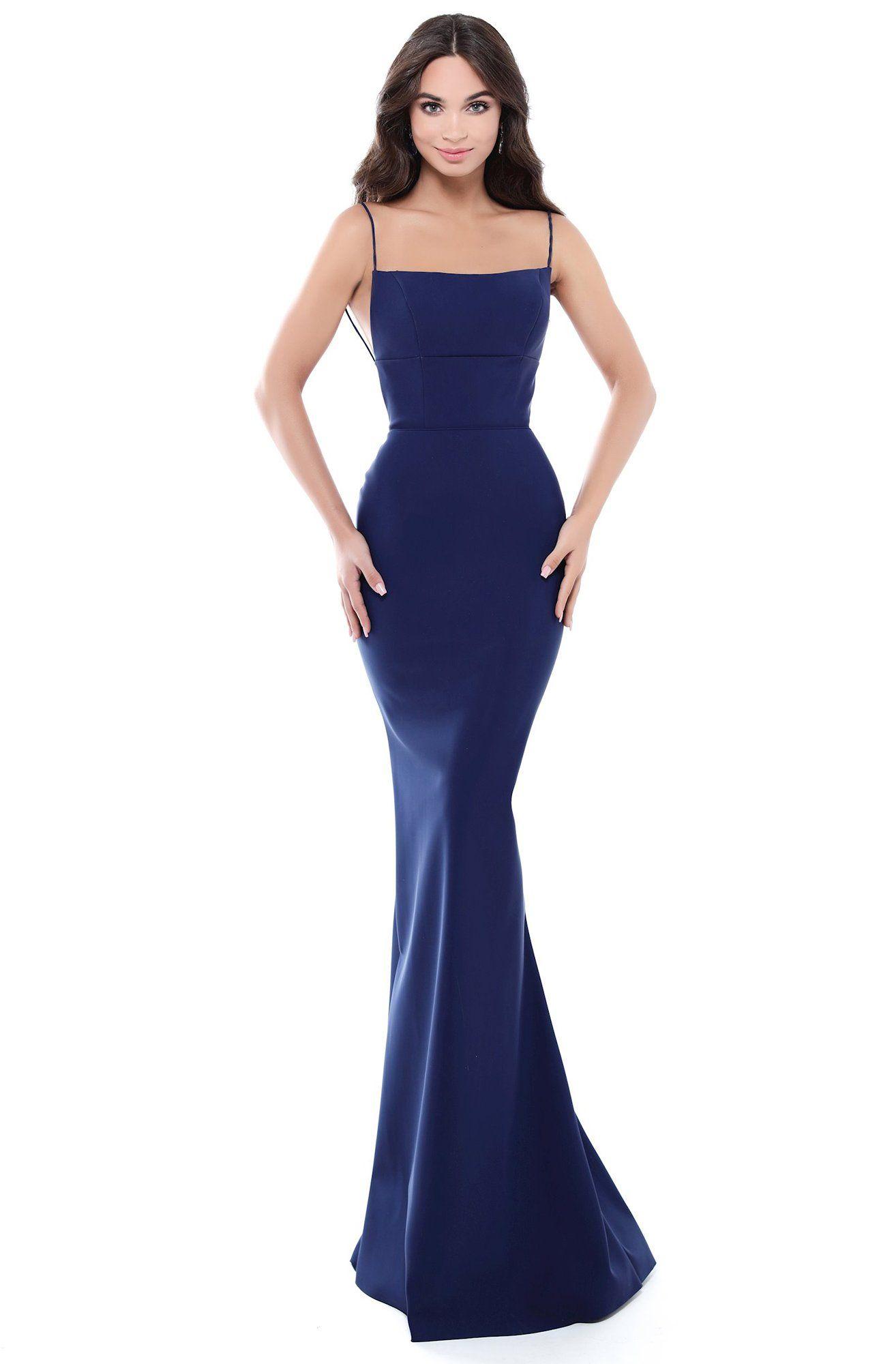 Tarik Ediz 50512 Straight Across Corset Detailed Mermaid Gown Square Neckline Dress Gowns Navy Prom Dresses [ 2000 x 1314 Pixel ]