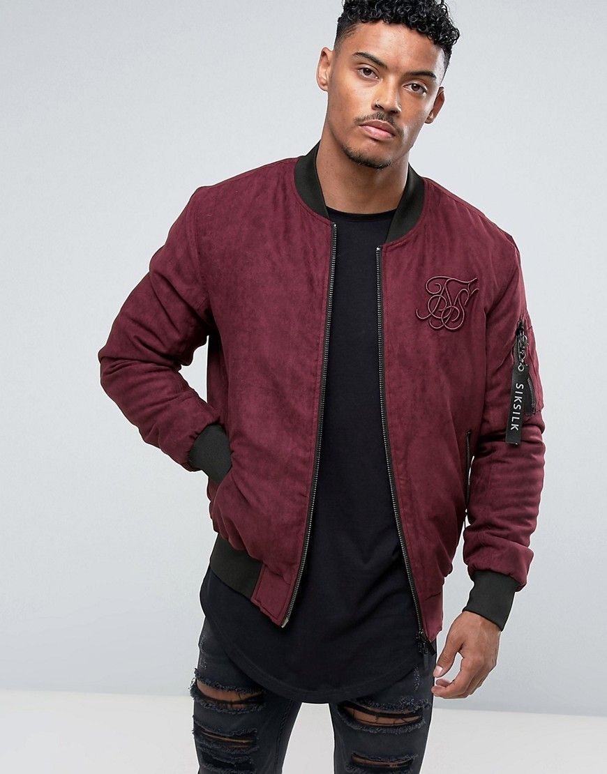 Get this Siksilk s bomber jacket now! Click for more details. Worldwide  shipping. SikSilk Bomber Jacket In Burgundy Faux Suede - Red  Bomber Jacket  by ... 57ebde1cbf