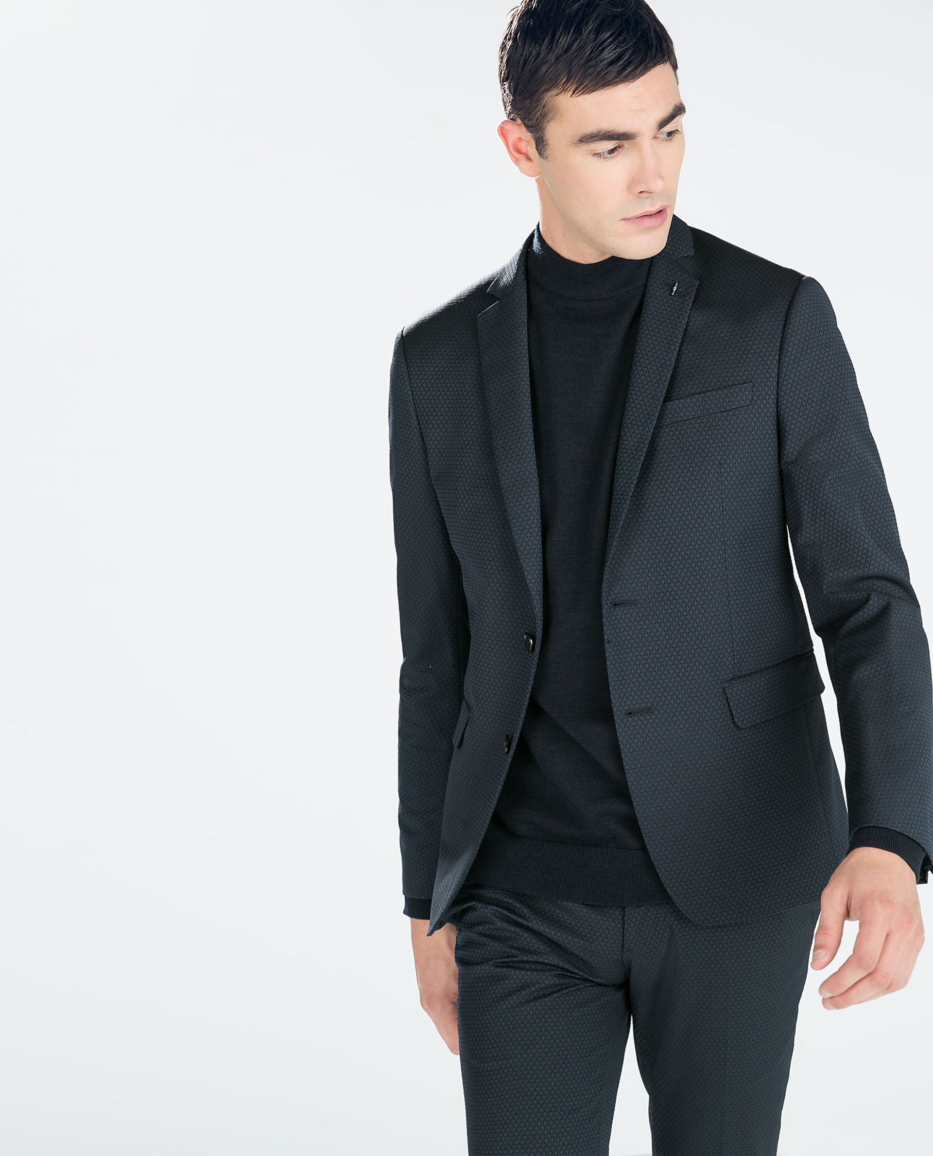 ZARA - HOMBRE - TRAJE JACQUARD AZUL tejido con textura chaqueta 80€ pantalon  40€ 2d64a76e0b6