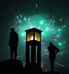 Vigeland Park fireqworks Tags: green oslo norway statue night fireworks nye burst frognerparken pyrotechnics vigeland