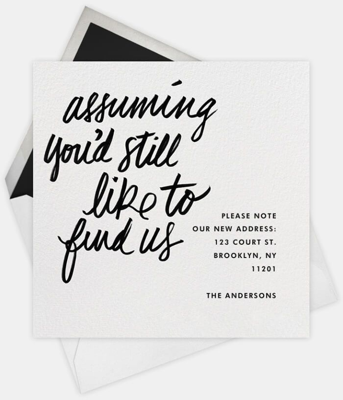 Assuming youu0027d still like to find us housewarming Pinterest - change of address templates