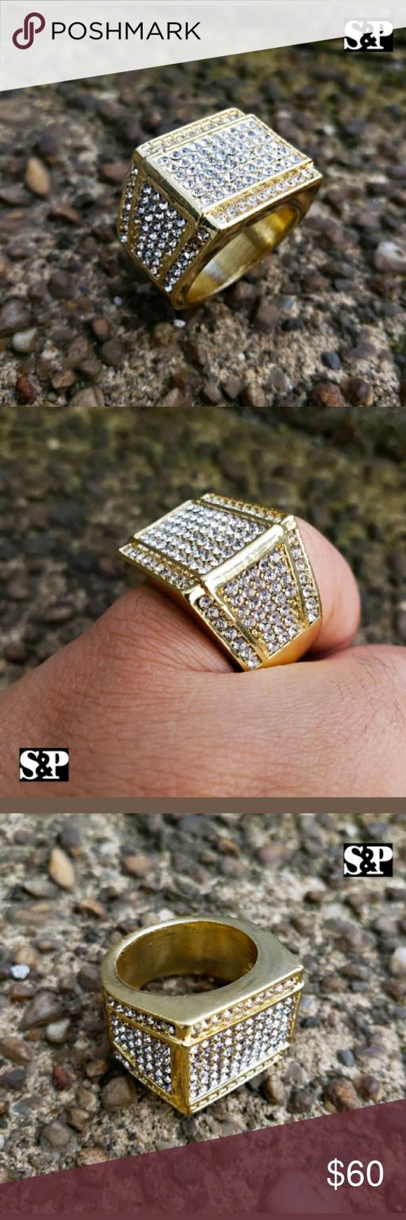 Menus hip hop ring mens iced out hip hop luxury migos lab diamond