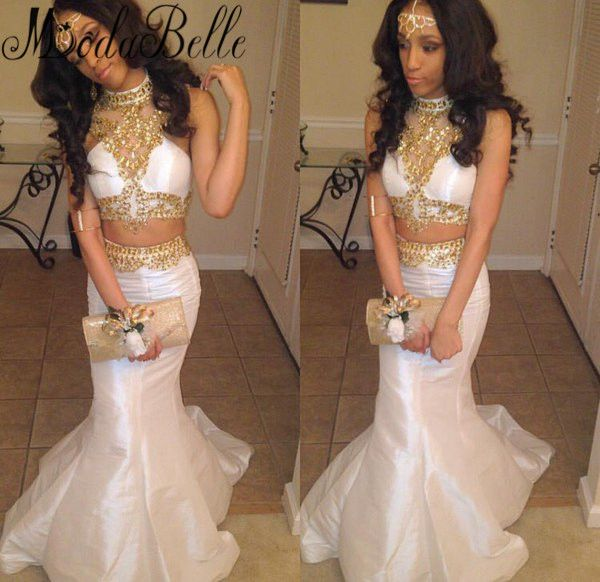 Sparkly Two Piece White And Gold Prom Dresses High Neck Long Prom ...