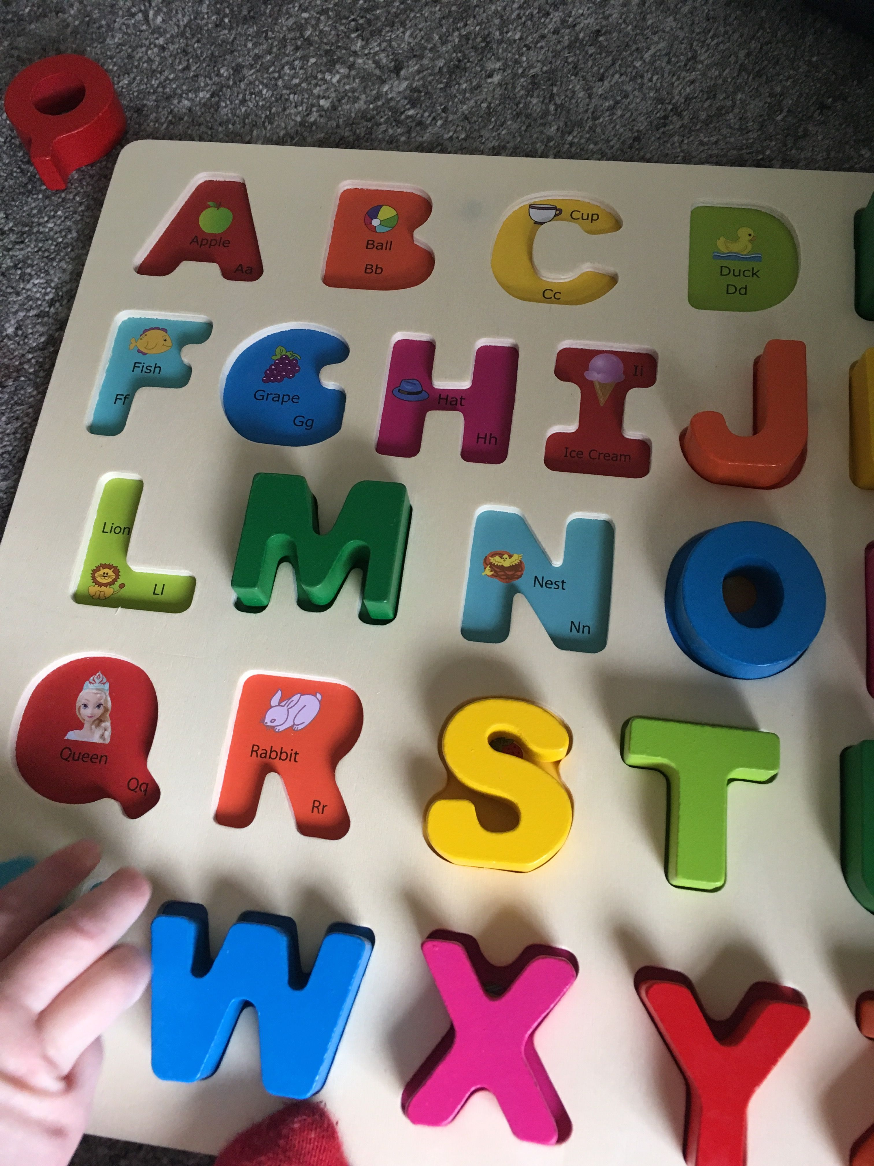 Review Chunky Wooden Alphabet Puzzle Board Upper Case early