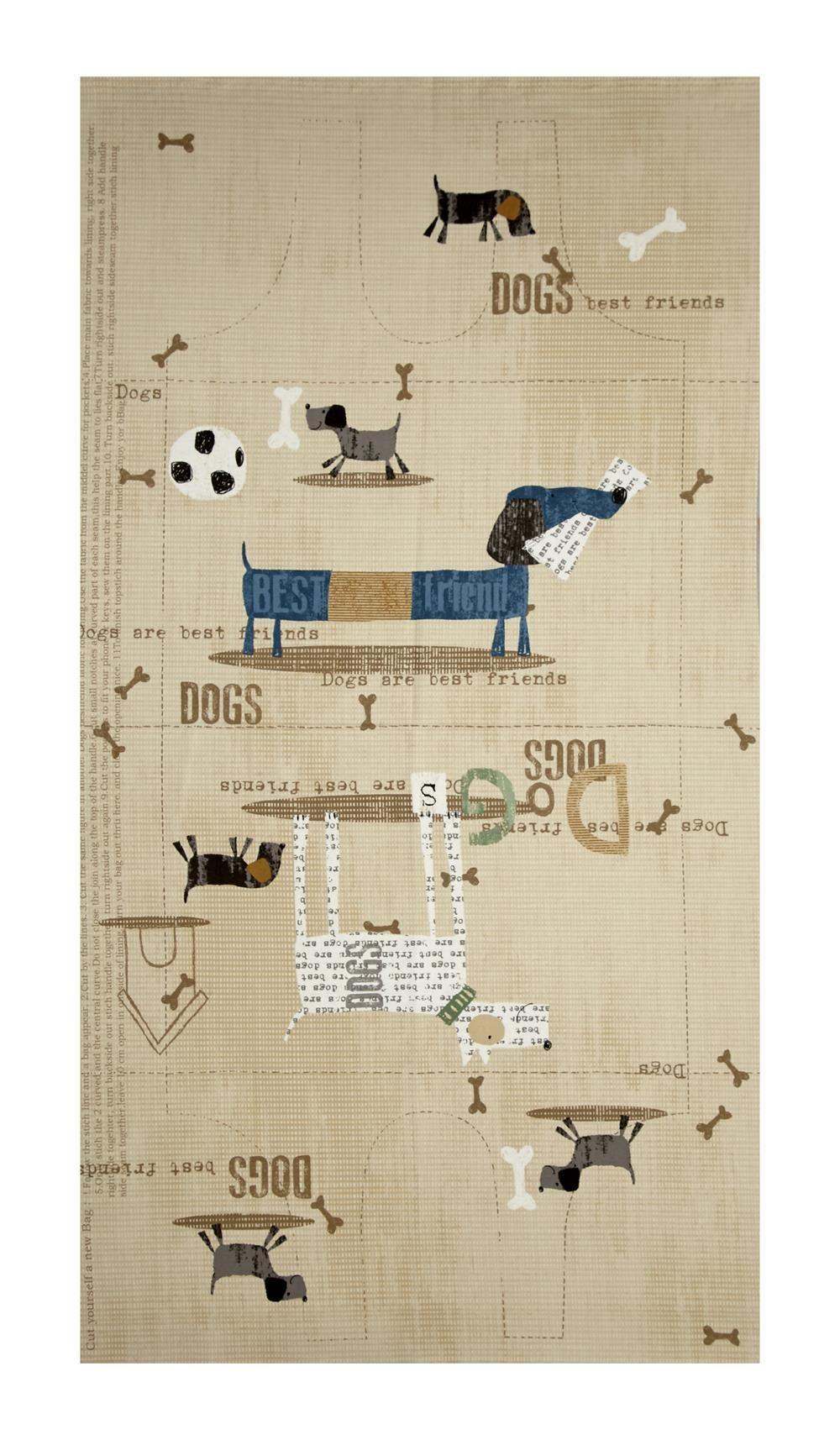 "My Best Friend Dog Bag 24"" Panel Pattern Brown"