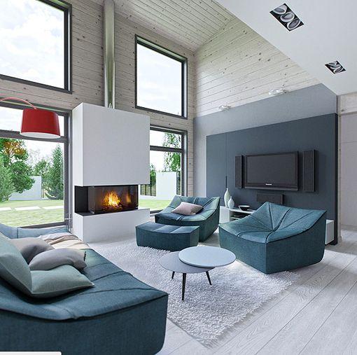 Salón, comedor y cocina integrados en un espacio de doble altura ...