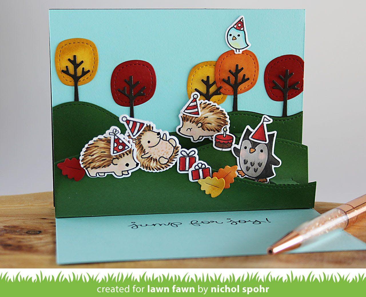 Stitched hillside pop ups birthday card lawn fawn כרטיסים