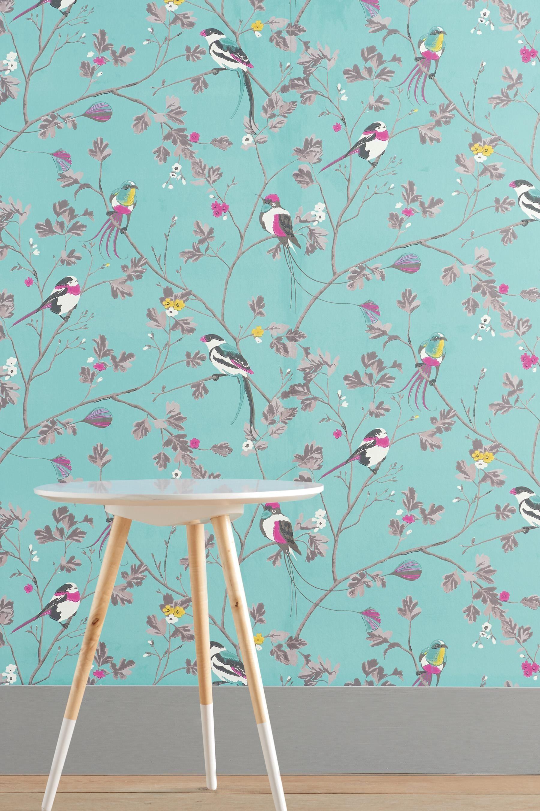 Buy Bird Menagerie Teal Wallpaper from the Next UK online