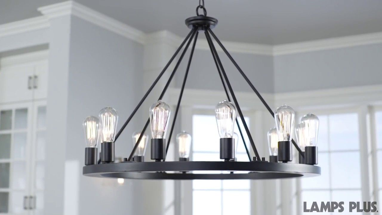 Lacey 28 Wide Round Black Chandelier W7307 Lamps Plus