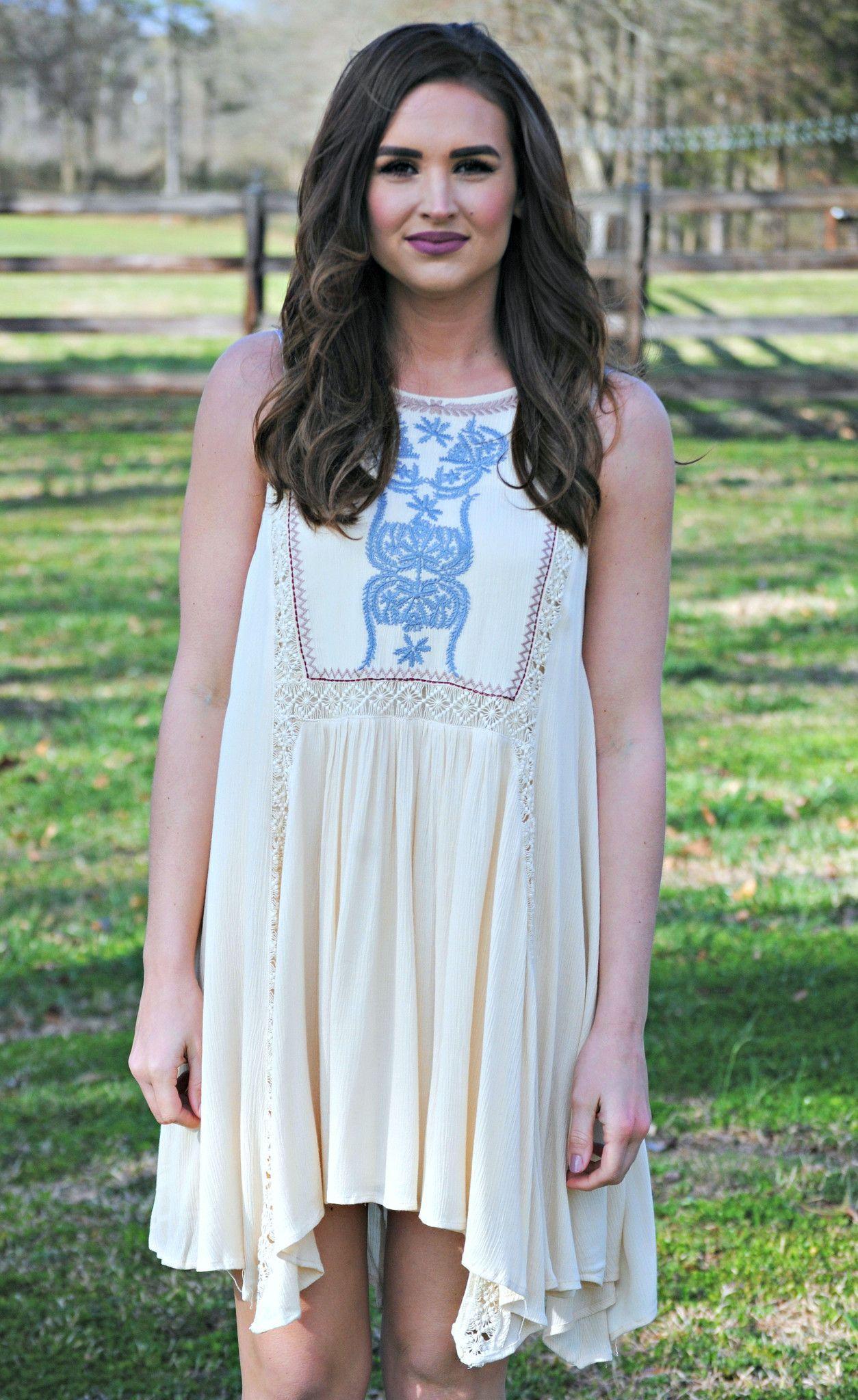 Ivory Embroidered A-Line Dress - Wonderlust Dress