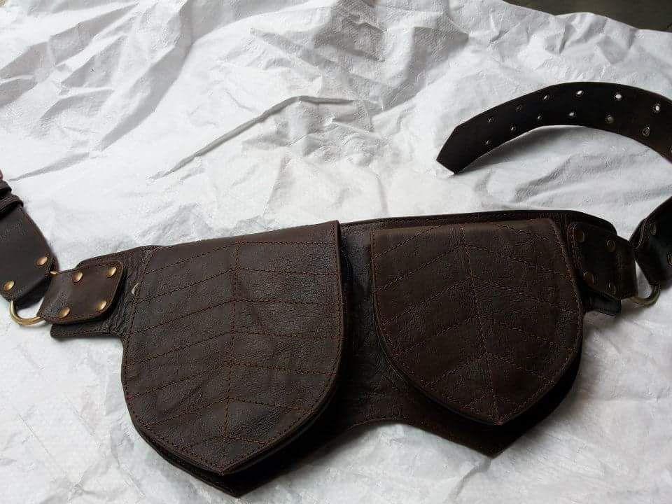 Gypsy Psytrance Bohemian Fanny pack utility bag Vintage bag festival belt tribal leather belt burning man Goa Brown Leather Bag Boho