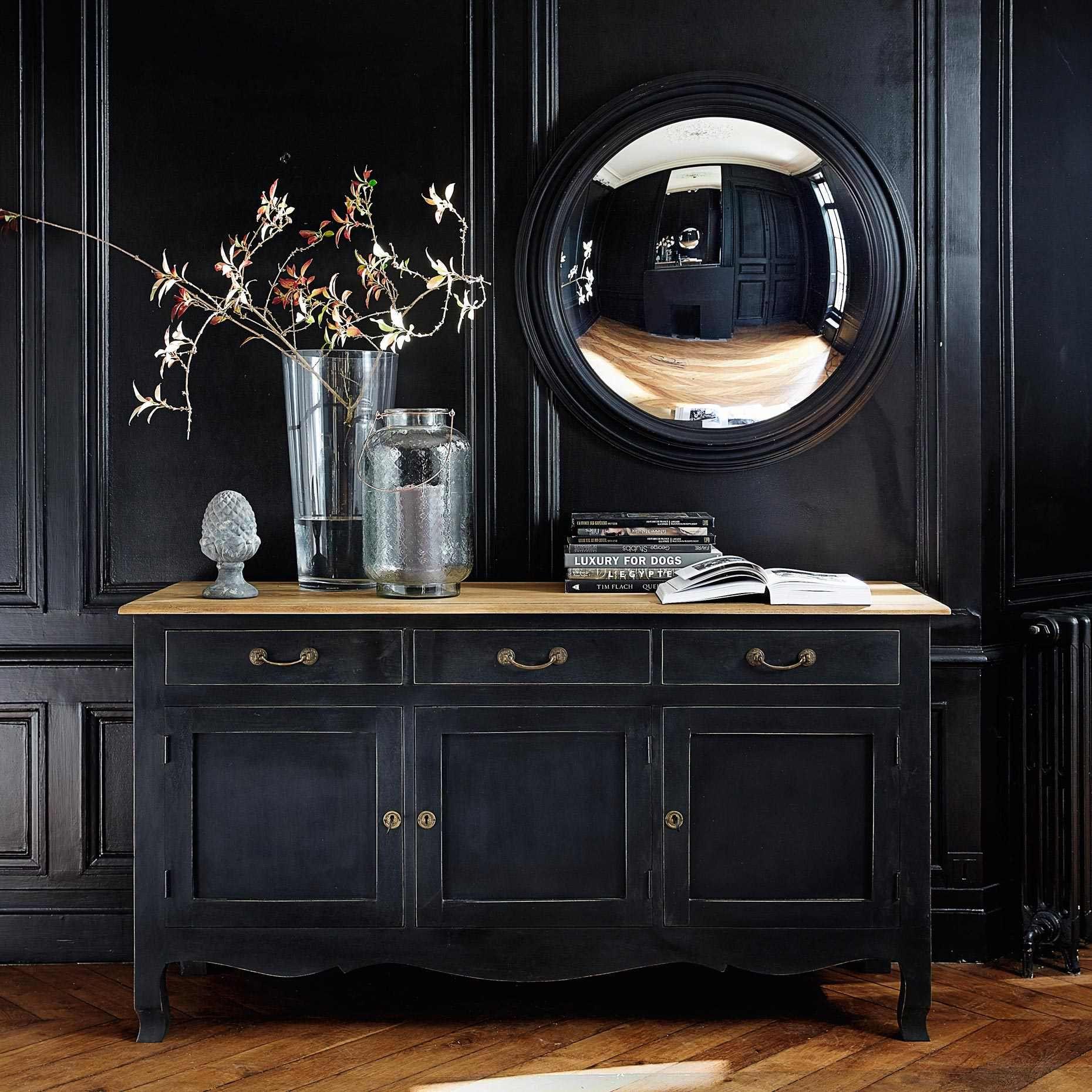 Buffet 3 portes en manguier noir meuble m tier mobilier de salon miroir sorciere et miroir for Meuble de salon noir
