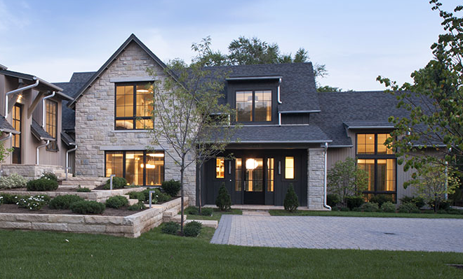 Exterior Finishes Metal Roof Blonde Stone Wood Metal House Designs Exterior House Exterior Modern Farmhouse Exterior